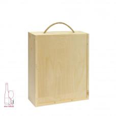 Kasetka drewniana potrójna w kolorze naturalnym – szuflada