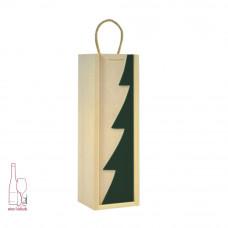 Kasetka drewniana pojedyncza w kolorze naturalnym – szuflada z dekorem choinka zielona