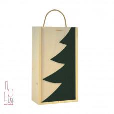 Kasetka drewniana podwójna w kolorze naturalnym – szuflada z dekorem choinka zielona