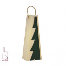 Kasetka drewniana pojedyncza w kolorze naturalnym – skośna szuflada z dekorem choinka zielona